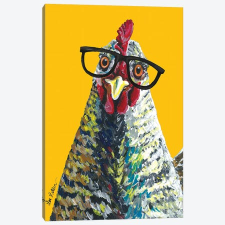 Chicken Willimina Glasses On Yellow Canvas Print #HHS370} by Hippie Hound Studios Canvas Wall Art