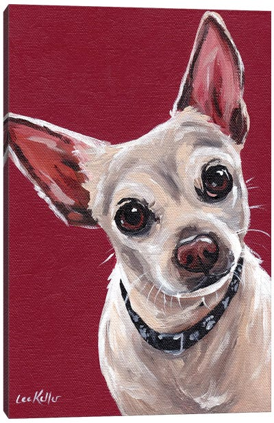 Chihuahua On Red Sam Canvas Art Print