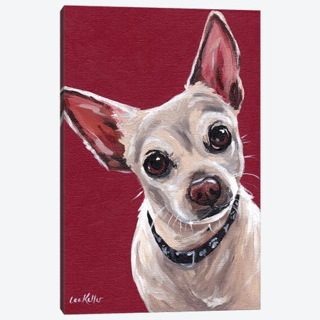 Chihuahua On Red Sam Canvas Print #HHS373} by Hippie Hound Studios Canvas Art