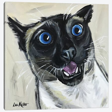 Funny Siamese Cat Marley Canvas Print #HHS37} by Hippie Hound Studios Canvas Art