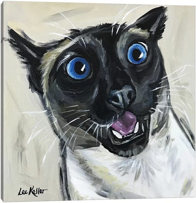Funny Siamese Cat Marley Canvas Art Print