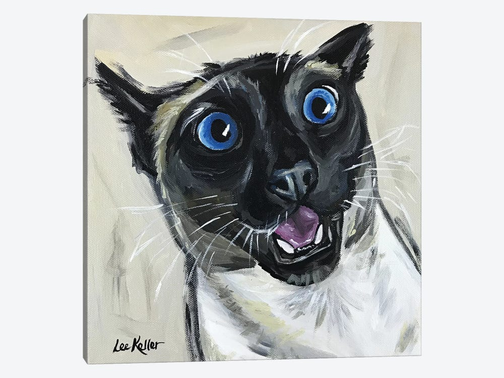 Funny Siamese Cat Marley by Hippie Hound Studios 1-piece Canvas Artwork