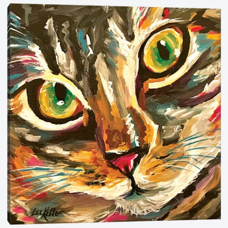 Colorful Cat Friady Canvas Print #HHS383} by Hippie Hound Studios Canvas Art Print