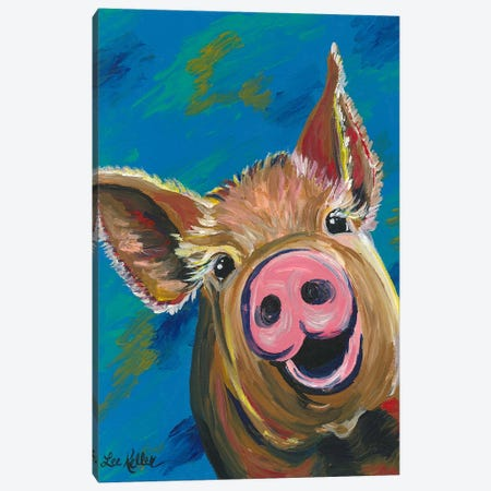 Colorful Pig Painting Canvas Print #HHS385} by Hippie Hound Studios Canvas Artwork