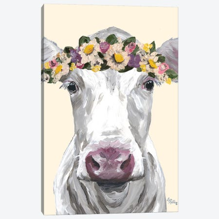 Cow Mabel Flowers On Cream Canvas Print #HHS388} by Hippie Hound Studios Art Print