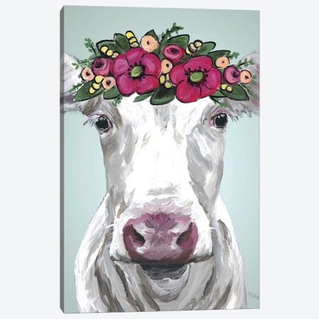 Cow Mabel Pink Flower Crown Canvas Print #HHS389} by Hippie Hound Studios Art Print