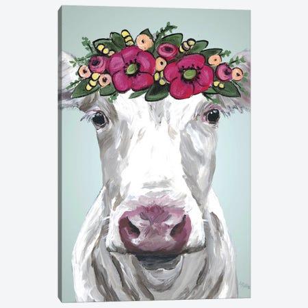 Cow Mabel Pink Flower Crown Canvas Print #HHS389} by Hippie Hound Studios Art Print