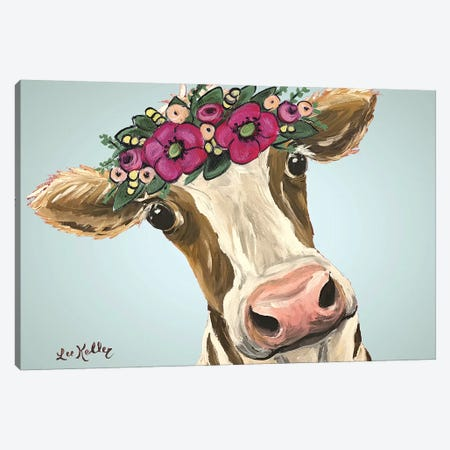 Cow Miss Moo Moo Pink Flowers Canvas Print #HHS390} by Hippie Hound Studios Canvas Artwork