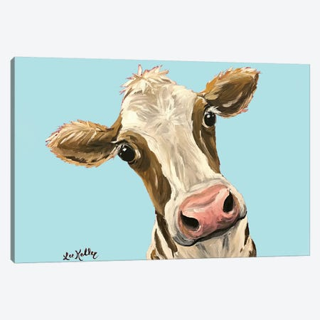 Cow Miss Moo Moo Turquoise Canvas Print #HHS391} by Hippie Hound Studios Canvas Art