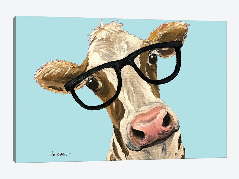 Cow Miss Moo Moo With Glasses On Turquoise by Hippie Hound Studios 1-piece Canvas Art