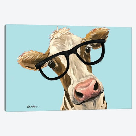 Cow Miss Moo Moo With Glasses On Turquoise Canvas Print #HHS392} by Hippie Hound Studios Canvas Wall Art
