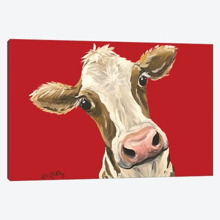 Cow Red New Background Canvas Print #HHS393} by Hippie Hound Studios Canvas Wall Art