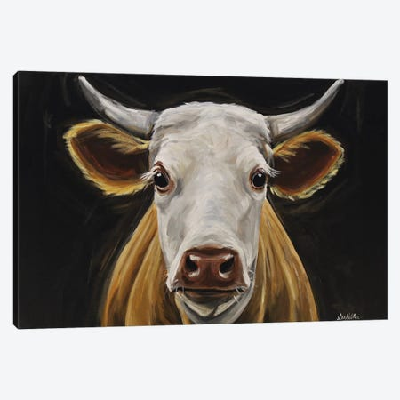 Cow 'Tank' Black Background II Canvas Print #HHS394} by Hippie Hound Studios Art Print