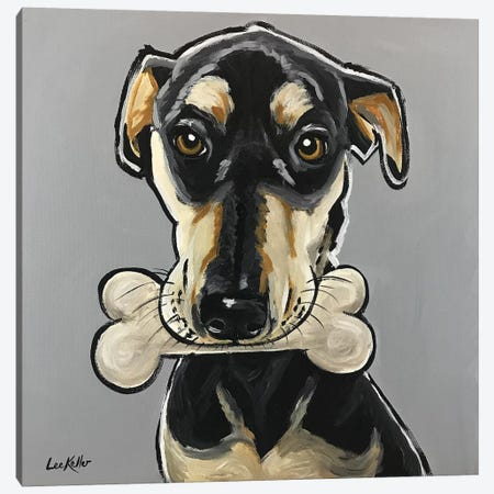 Dog With Bone Canvas Print #HHS399} by Hippie Hound Studios Canvas Art