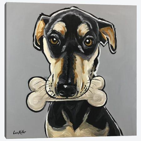 Dog With Bone Canvas Print #HHS399} by Hippie Hound Studios Canvas Art