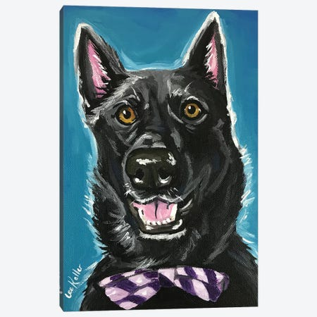 Black German Shepherd With Bow Tie Canvas Print #HHS3} by Hippie Hound Studios Canvas Art