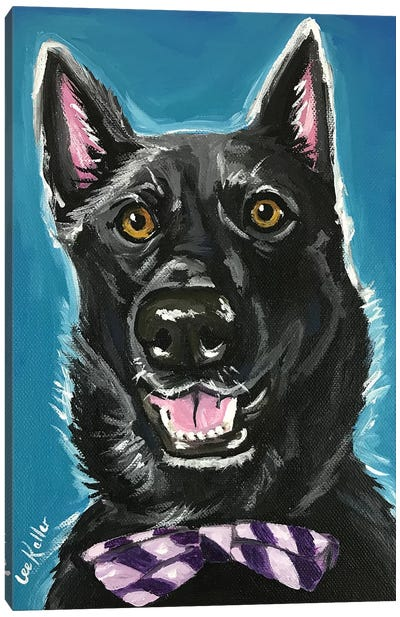 Black German Shepherd With Bow Tie Canvas Art Print
