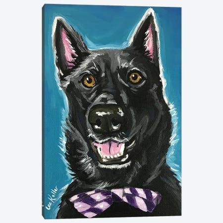 Black German Shepherd With Bow Tie Canvas Print #HHS3} by Hippie Hound Studios Canvas Art