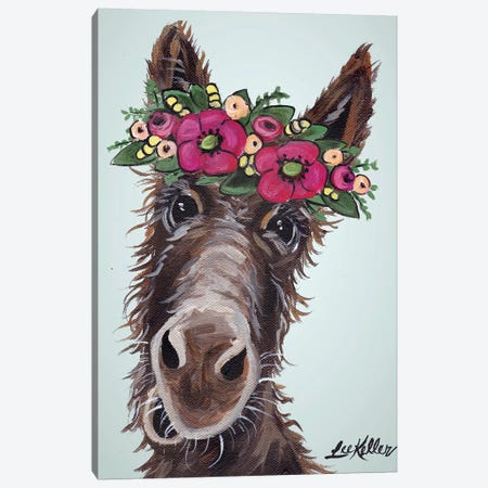 Donkey Pink Flowers Canvas Print #HHS401} by Hippie Hound Studios Canvas Artwork