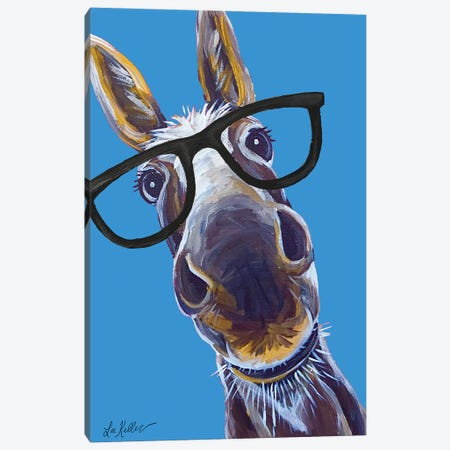 Donkey Snickers Glasses Canvas Print #HHS402} by Hippie Hound Studios Canvas Artwork