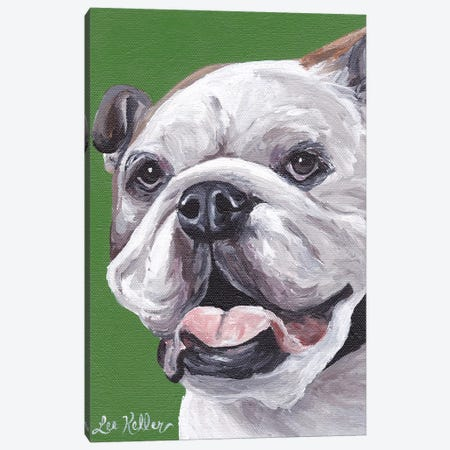 English Bulldog On Green Canvas Print #HHS404} by Hippie Hound Studios Art Print