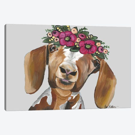 Goat Millie Flower Crown Gray Canvas Print #HHS412} by Hippie Hound Studios Art Print