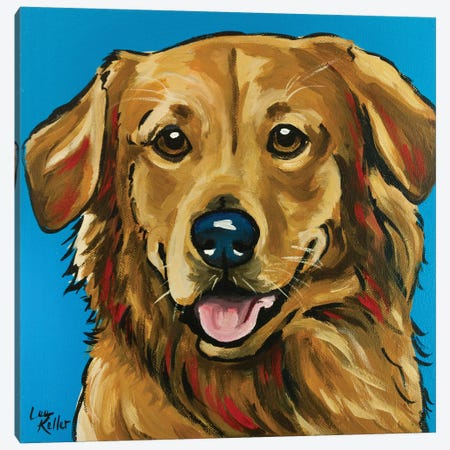 Golden Retriever Expressive Blue Canvas Print #HHS415} by Hippie Hound Studios Canvas Art