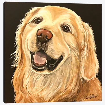 Golden Retriever On Black II Canvas Print #HHS416} by Hippie Hound Studios Canvas Wall Art