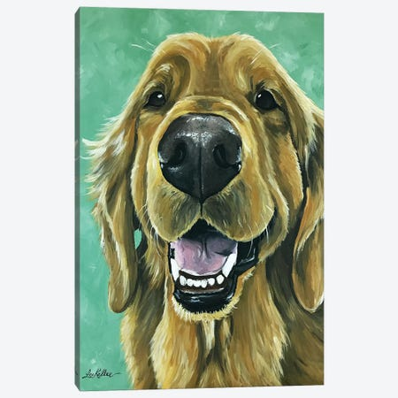 Golden Retriever On Green Canvas Print #HHS418} by Hippie Hound Studios Canvas Print