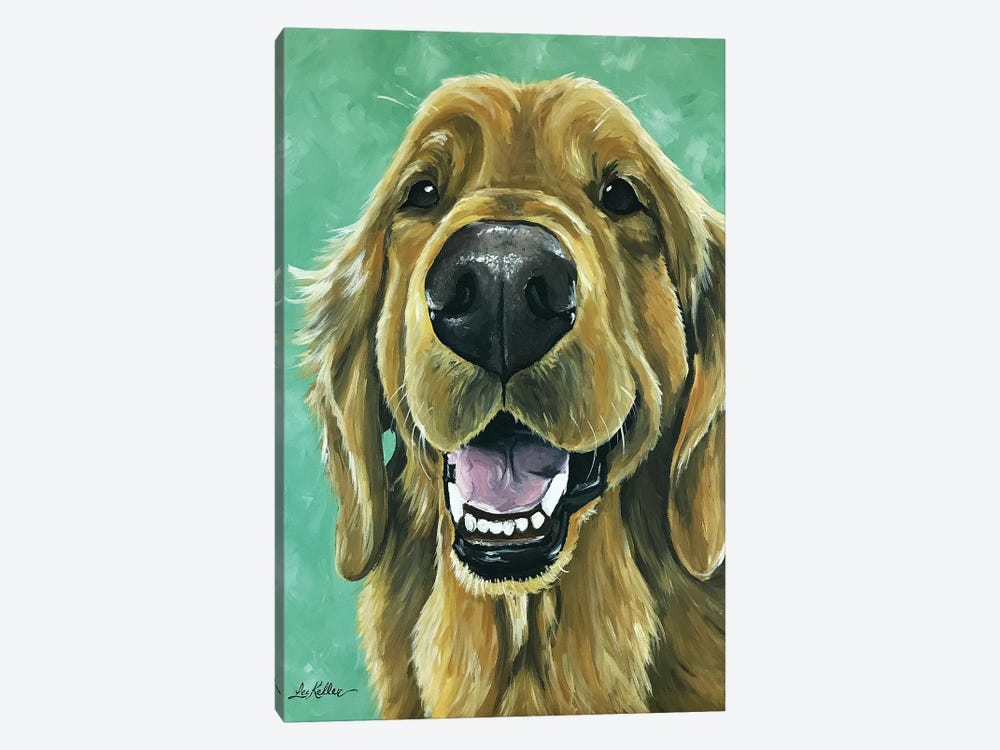Golden Retriever On Green by Hippie Hound Studios 1-piece Canvas Print