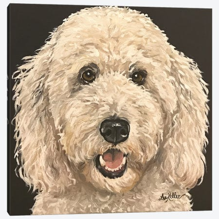 Goldendoodle On Black Canvas Print #HHS419} by Hippie Hound Studios Canvas Art Print
