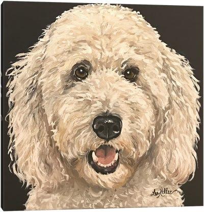 Goldendoodle On Black Canvas Art Print