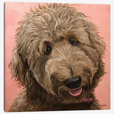 Goldendoodle Ruby On Pink Canvas Print #HHS420} by Hippie Hound Studios Canvas Art