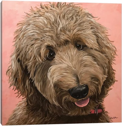 Goldendoodle Ruby On Pink Canvas Art Print