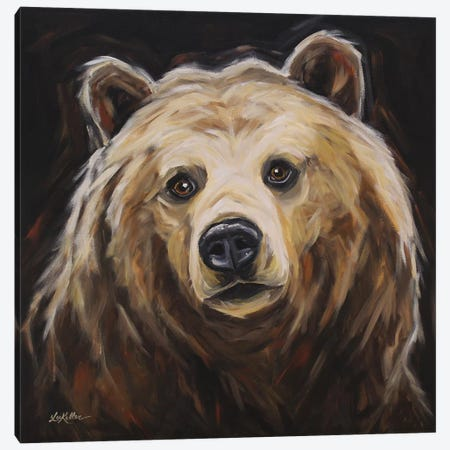 Grizzly Bear 'Honey' Canvas Print #HHS426} by Hippie Hound Studios Art Print