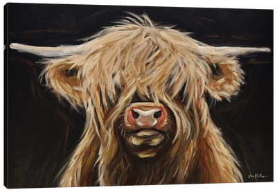 Highland Cow On Black Canvas Art Print
