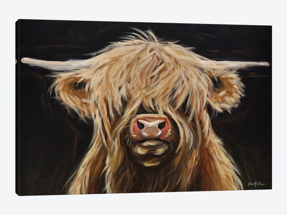 Highland Cow On Black by Hippie Hound Studios 1-piece Art Print