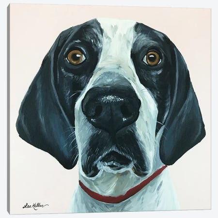 Hound Dog Pink Canvas Print #HHS429} by Hippie Hound Studios Canvas Art