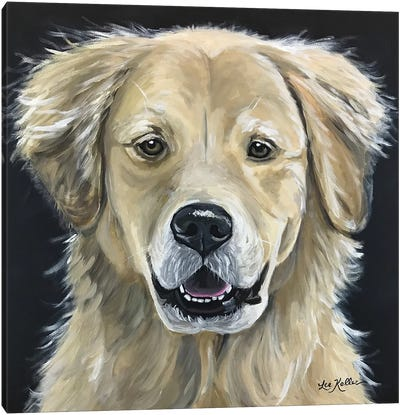 Golden Retriever On Black Canvas Art Print