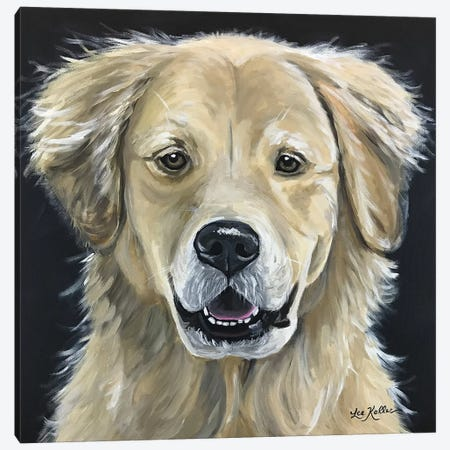 Golden Retriever On Black Canvas Print #HHS42} by Hippie Hound Studios Canvas Art