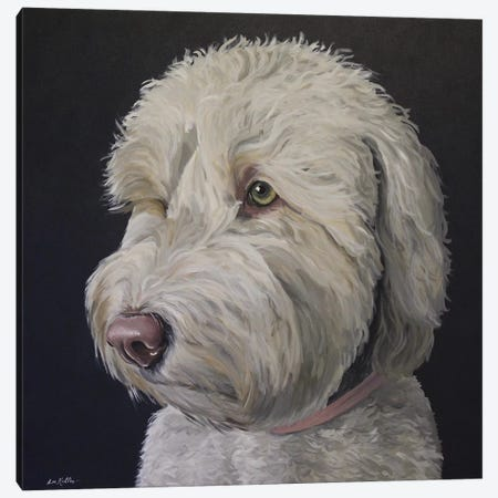 Goldendoodle White With Black Background Canvas Print #HHS431} by Hippie Hound Studios Canvas Print