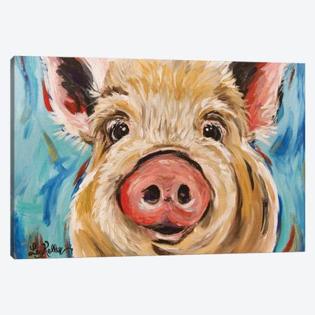 Octavia Pig Canvas Print #HHS436} by Hippie Hound Studios Canvas Wall Art