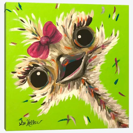 Ostrich Fifi Canvas Print #HHS437} by Hippie Hound Studios Canvas Art