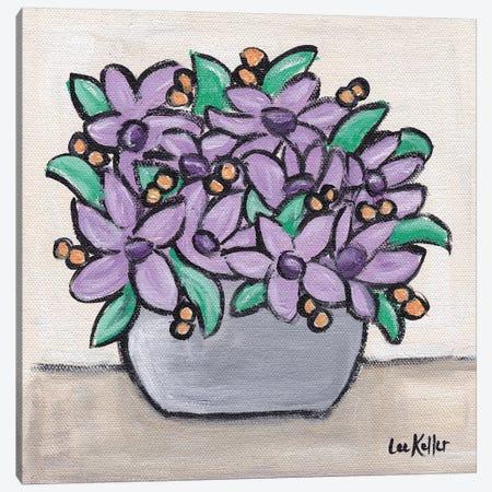 Pastel Lavendar Flowers In Pot Canvas Print #HHS441} by Hippie Hound Studios Canvas Artwork