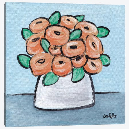 Pastel Peach Flowers In Pot Canvas Print #HHS442} by Hippie Hound Studios Canvas Wall Art