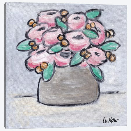 Pastel Pink Flowers In Pot Canvas Print #HHS443} by Hippie Hound Studios Canvas Artwork