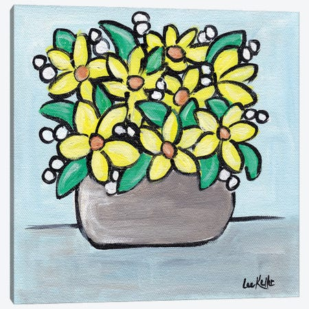 Pastel Yellow Flowers In Pot Canvas Print #HHS444} by Hippie Hound Studios Canvas Art Print