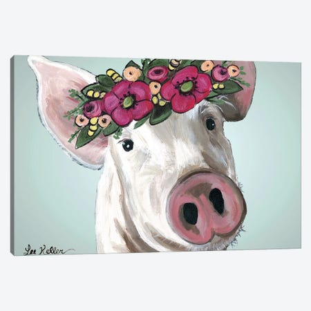 Pig Petunia Bold Flower Crown Canvas Print #HHS446} by Hippie Hound Studios Canvas Art Print