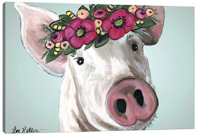 Pig Petunia Bold Flower Crown Canvas Art Print