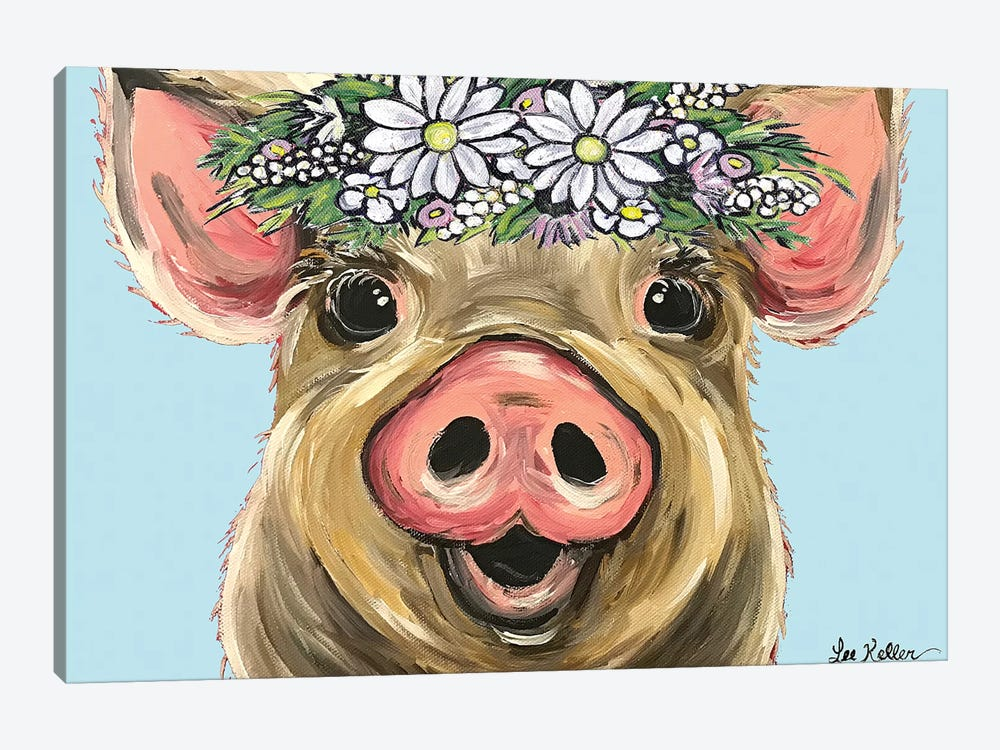 Pig Posey On Turquoise Daisies 1-piece Canvas Print